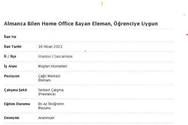 Almanca Bilen Home Office Bayan Eleman, Öğrenciye Uygun